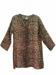 Women's Leopard Print Sequin Indian Kurta Tunic Chiffon Cover Up