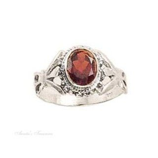 Sterling Silver Solitaire Oval Garnet Ring Size 6 Jewelry