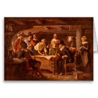 The Mayflower Compact by Jean Leon Gerome Ferris Greeting Cards
