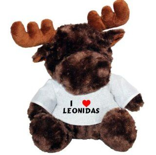 Plush Moose Toy with I love Leonidas t shirt (first name/surname/nickname) Toys & Games