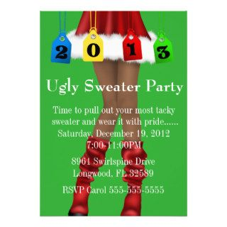 Cute Trendy Holiday/Christmas Ugly Sweater Party Custom Invitations