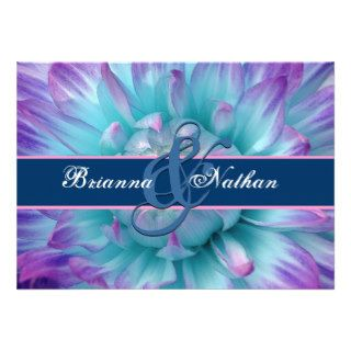 Aqua and Purple Flower Petals  and Ribbon Wedding Custom Invites