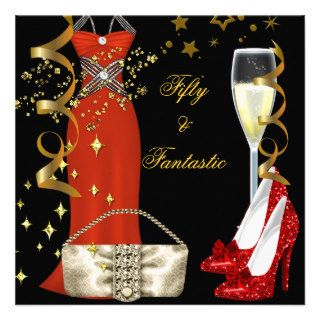 50 & Fantastic Red Dress Black Gold Birthday Party Custom Invitations