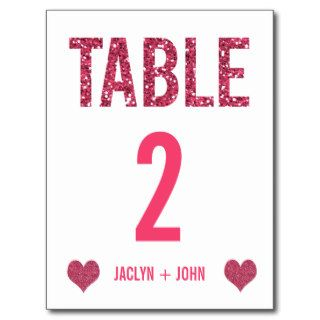 White & Pink Glitter Wedding Table Number Postcard