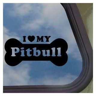 I Love My Pitbull Black Decal Car Truck Window Sticker   Automotive Decals