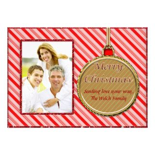 Candy Cane Red Christmas Ornament Photo Card Custom Invitations