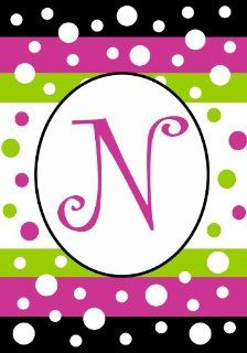 Small Polka Dot Party Monogram Flag Displays Letter N By Custom Decor 12x18  Outdoor Flags  Patio, Lawn & Garden