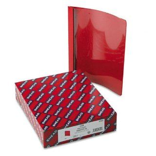 "Smead   Vinyl Report Cover, Tang Clip, Letter, 1/2"" Capacity, Clear/Red, 25 per Box   Pack of 2  Business Report Covers"