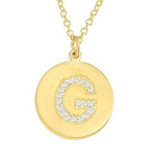Personalized alphabet 14k Yellow gold diamond initial letter G disc pendant necklace Jewelry