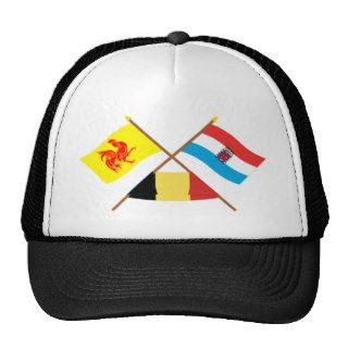 Crossed Walloon & Luxembourg Flags w Belgium Trucker Hats
