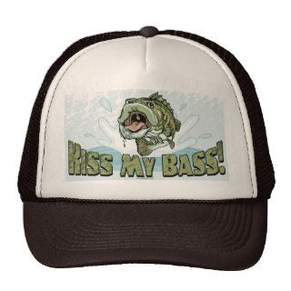 Funny Kiss My  Bass Gift Ideas for Fishermen Trucker Hat