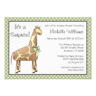 Giraffe Green Dots Gender Neutral Baby Shower Invite