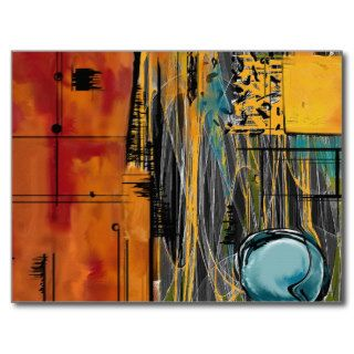Pomegranate & Blueberry Orange Juice Abstract Post Cards