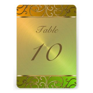 Gold Filigree Swirls Table Number Custom Invitations