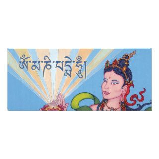 CARD Goddess, lotus and mantra OM MANI PADME HUM Custom Invitation