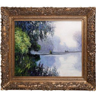 Art Monet Morning on The Seine Near Giverny with Burgeon Gold Frame with Gold Finish   Oil Paintings