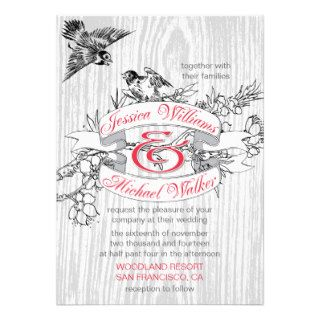 Vintage Love Birds Rustic Wood Grain Wedding Custom Invites