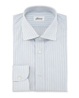 Mens Mini Stripe Dress Shirt, Light Blue/Yellow   Brioni   Yellow (15 1/2R)