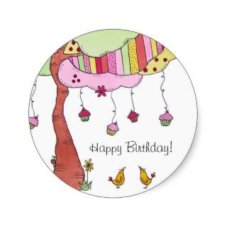 Cupcakes, Happy Birthday Stickers