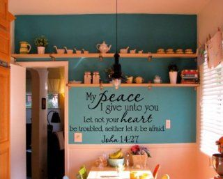 My Peace I Give Unto You Let Not Your Heart Be Troubled, Neither Let It Be Afraid. John 1427 Religious Inspirational Vinyl Wall Decal Sticker Mural Quotes Words R037   Other Products