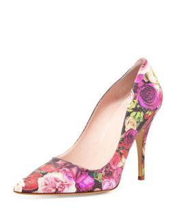 licorice floral print leather pump   kate spade new york   Floral (39.0B/9.0B)