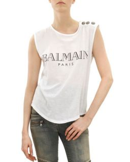 Womens Sleeveless Logo T Shirt with Shoulder Buttons, Black/White   Balmain