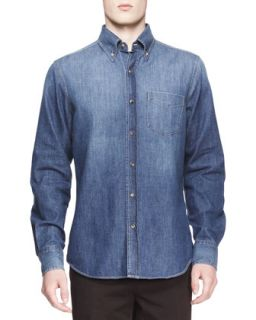 Mens Faded Denim Western Shirt   Brunello Cucinelli   Blue (X LARGE)