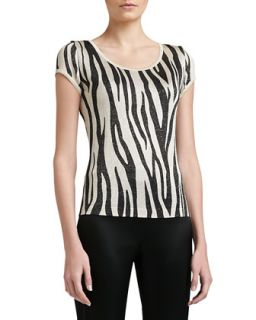 Womens Tigre Print Light Shimmer Knit Scoop Neck Cap Sleeve Shell   St. John