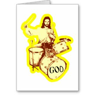 Jesus Saves Then Drums Jesus Drummer T shirt Greeting Cards