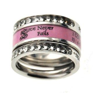 "Christian Womens Stainless Steel 10mm Abstinence 3 Ring Love Never Fails Tiara Chastity Ring for Girls   1 ""Love is Patient, Love is Kind, Love Never Fails"" 1 Corinthians 134, 8 Pink Ring, 2 ""Be Anxious fo Nothing"" Philippians 46, 7 P"