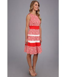 Anne Klein Printed Cotton Banded Swing Dress Zinnia Combo