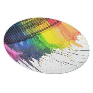 Rainbow melted crayon art dinner plates
