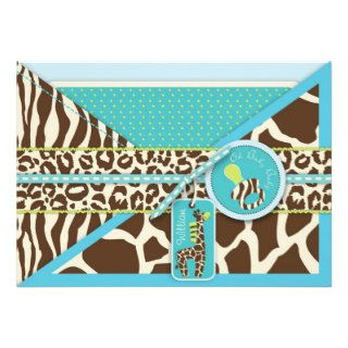 Giraffe & Pacifier Safari Animal Print Baby Shower Invites