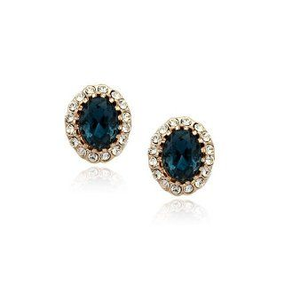 FM42 18k Yellow Gold Plated Kate Middleton Diana Style Oval Blue/Green/Purple/Red Color Crystal Stud Earrings (Blue Crystal) Jewelry