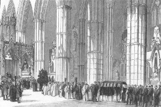LONDON Duke of Northumbs funeral, Westminster Abbey, antique print, 1847