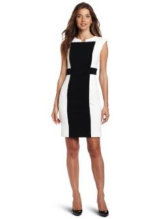 Calvin Klein Women's Sheath Dress, Eggshell/Black, 2