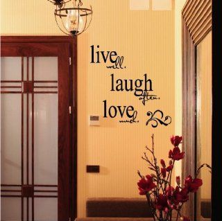 "LARGE   Live well Laugh often Love much 20"" h x 26"" w Vinyl Lettering Wall Sayings Quote Decal Sticker Home Decor   Wall Quotes Stencils"