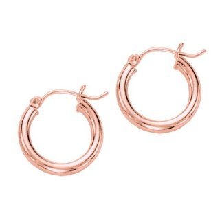 14K Rose Gold 3X15mm wide Shiny Round Tube Hoop Earring ITRAC Jewelry