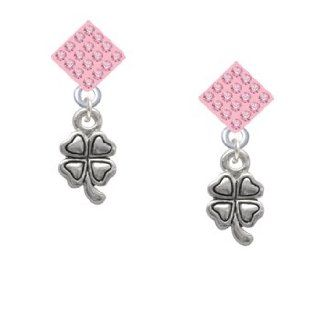 Mini Silver Four Leaf Clover Light Pink Crystal Diamond Shaped Lulu Post Earr Jewelry