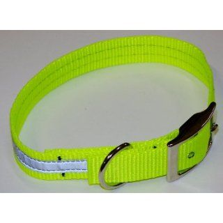 Sav A Jake Firefighter Gear Tools K 9 Reflective Dog Collar Hot Neon Yellow W/3M Silver Reflective & Metal Buckle X LARGE