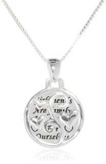"Sterling Silver ""Girlfriends"" Two Piece Pendant Necklace, 18"" Friendship Necklace Jewelry"