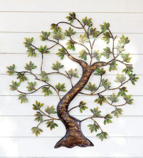 Metal Twisted Tree with Green Foliage Indoor/Outdoor Wall Art   Wall Sculptures