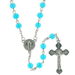 Light Blue Beaded Link Rosary With Saint Benedict Centerpiece and 5mm Round Beads   28'' Necklace   20'' Overall Length Jewelry