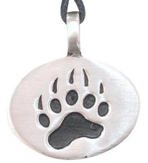 Bear Claw Paw Print Pewter Pendant Necklace Jewelry