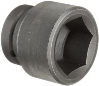 "Martin 7662 Forged Alloy Steel 1 15/16"" Type III Opening 1"" Power Impact Drive Socket, 6 Points Standard, 3"" Overall Length, Industrial Black Finish"