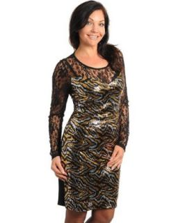 Stanzino Women's Lace Long Sleeve Scoop Neck Plus Size Dress with Gold and Silver Sequins GOLD 3XL