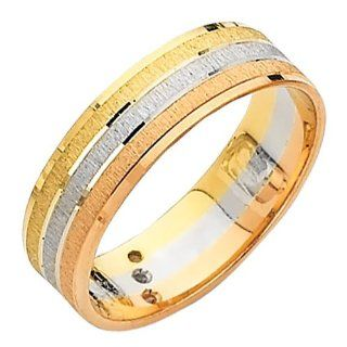 14K 3 Tri color 6mm Wedding Band Ring for Men & Women Goldenmine Jewelry