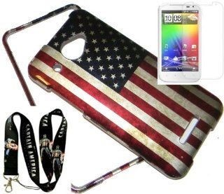 HTC DROID DNA 6435 'PROUD TO BE AN AMERICAN' FLAG 2pc. HARD CASE + CAPTAIN AMERICA LANYARD + SCREEN PROTECTOR Cell Phones & Accessories