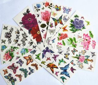 10pcs/package hot selling temporary tattoo stickers various designs including lotus/goldfish/colorful butterflies and flowers/butterfly angels/black flowers/etc Toys & Games