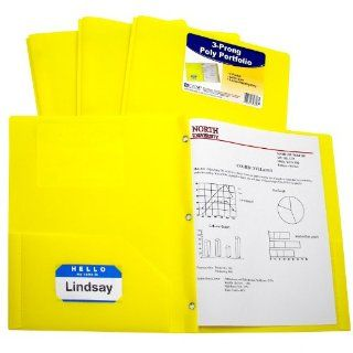 C Line Two Pocket Heavyweight Poly Portfolio with Prongs, For Letter Size Papers, Includes Business Card Slot, 1 Case of 25 Portfolios, Yellow (33966)  Portfolio Ring Binders